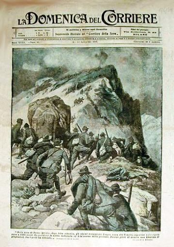 """La copertina della """"Domenica del Corriere"""" dedicato alla conquista italiana del Cauriol il 29 agosto 1916"""