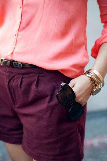burgundy + watermelon: Chic Outfit, Colors Combos, Coral, Fashion, Style, Closets, Clothing, Colors Combinations, Colors Inspiration