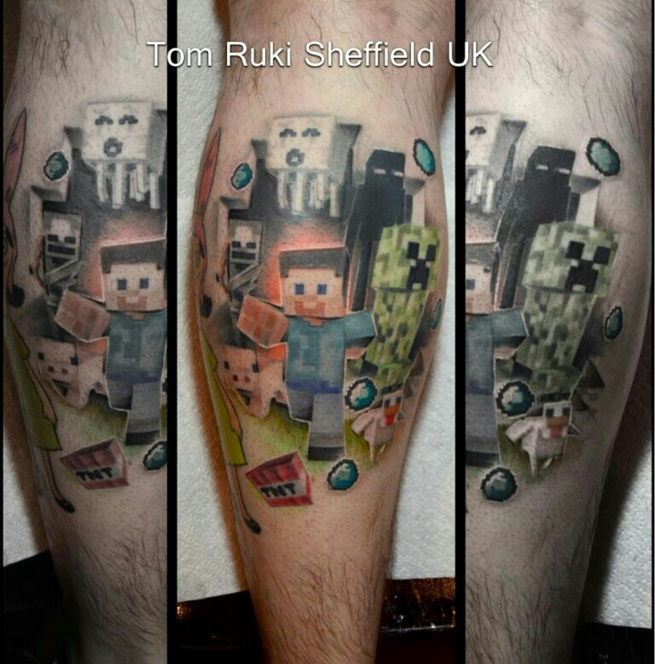 My Minecraft tattoo by Tom Ruki of Tenacious Tattoo Sheffield