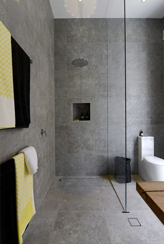 """The Block: Bathrooms - Brad & Dale. Love the tiles - Beaumont Tiles """"Excellence Grey"""":"""