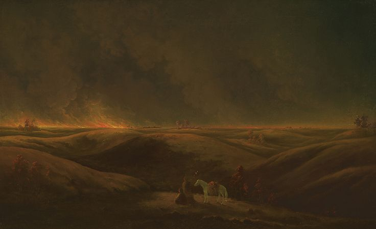 """Many of Paul Kane's oil paintings embody conventions of Romantic painting: sublime or picturesque views and the idealization of the individuals who were his subjects. """"A Prairie on Fire,"""" c. 1849–56, Royal Ontario Museum."""