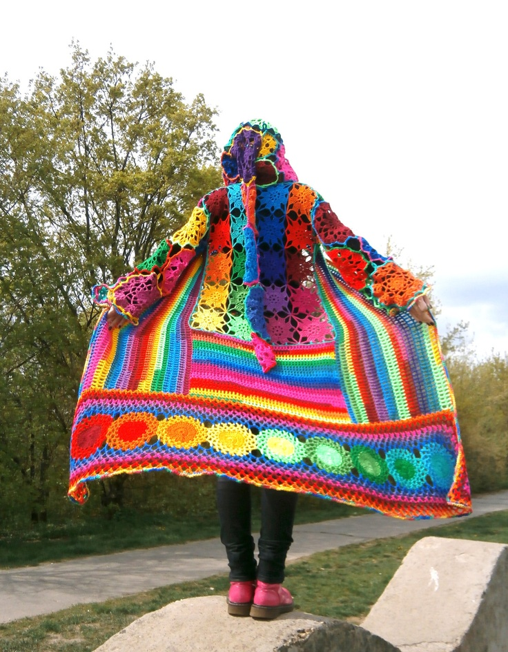 AMAZING. Kaleidocoat - Multicolor Multimotif Striped And Hooded Hippie Crochet Coat by babukatorium