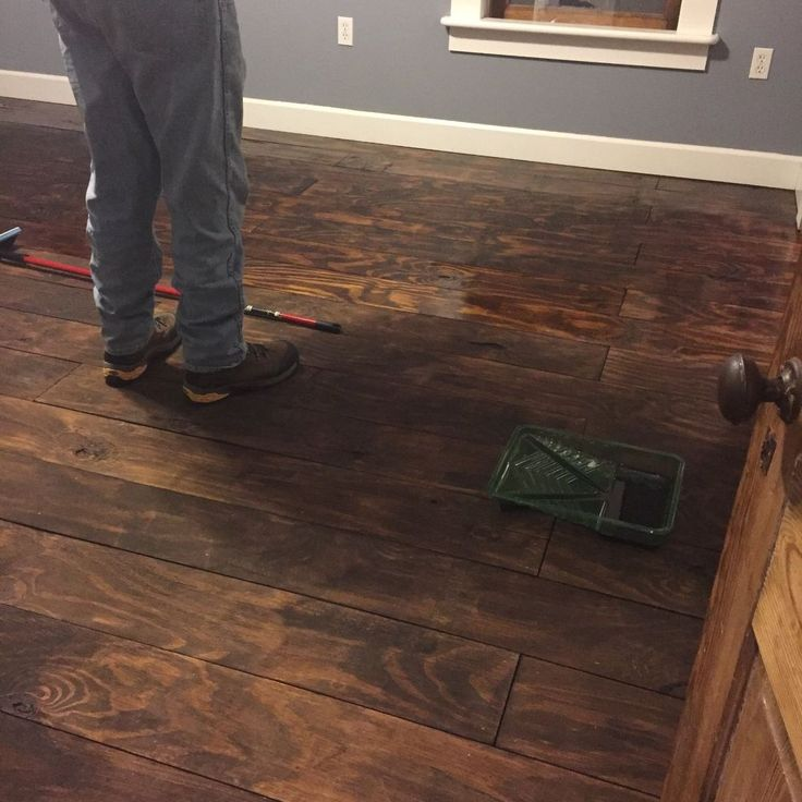 """DIY - How to Fake Hardwood Floors With Plywood - This is a great idea for the any room, simply purchase Plywood sheets, have them cut into 6"""" wide strips, stain them in your choice of color, when dry, you may want to put a barrier down (roofing paper or insulation) gun them in place (or with wood glue), lay them side by side,     polyurethane  and you have a hardwood floor."""