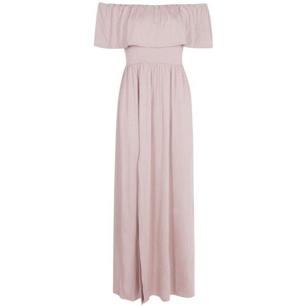 Boohoo Petite Aria Ruffle Bandeau Split Front Maxi Dress | Boohoo ($12) ❤ liked on Polyvore featuring dresses, pink cocktail dress, pink evening dress, cocktail maxi dresses, special occasion dresses and petite cocktail dress