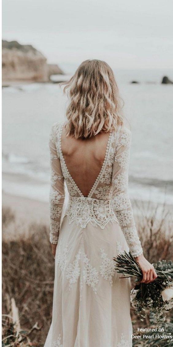 Lisa – Gown de mariée bohémienne en dentelle de coton avec dos ouvert
