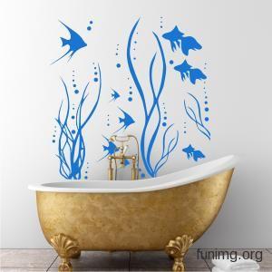наклейка для стен или трафарет для декора - ванная