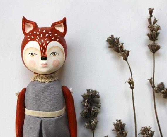 Miss Fox - ooak art doll by sweetbestiary
