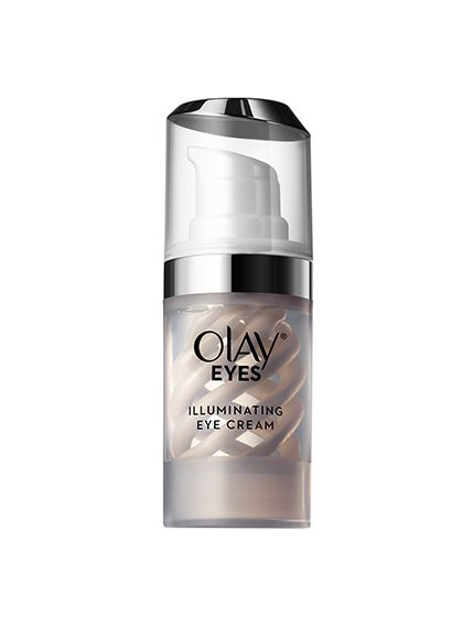 Olay Eyes Illuminating Eye Cream With a noticeably pearlescent finish, this looks more like a highlighter than an eye cream. When it's dabbed under the eyes, the brightness knocks out even superstubborn dark circles and minimizes how much concealer you need to use on top (even if you're sleep deprived and jet-lagged, like we were when we tried it). But it's not just a quick fix: The niacinamide in the formula works to minimize dark circles over time.  Available in July 2016.
