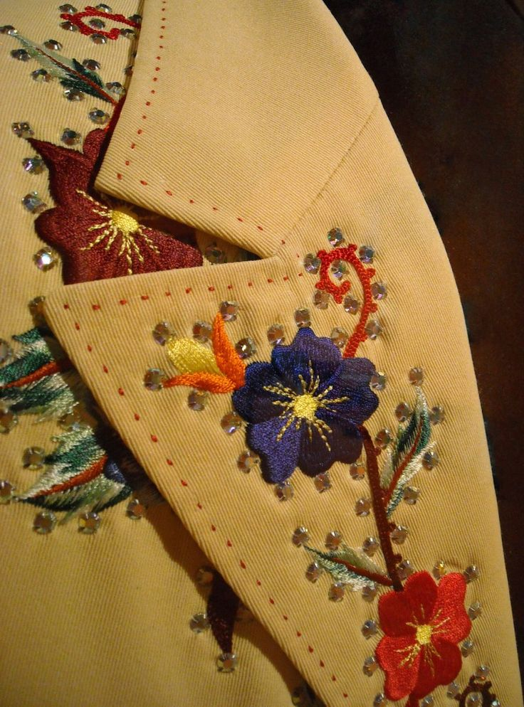 Detail of the lapel of a the Nudie Cohn suit worn by country music legend Marty Robbins. On display at the Country Music Hall of Fame & Museum, Nashville, TN (5 June 2008)