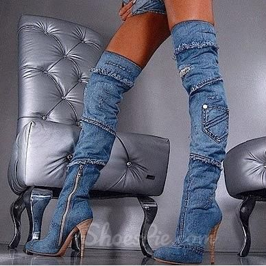 Stylish Denim Over Knee High Forget A Boot It From The Plus Size Fashion Community At www.VintageAndCurvy.com