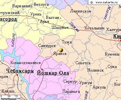 Карта окрестностей города Яранск от НаКарте.RU