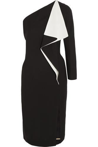 One-shoulder ruffled silk-blend crepe dress #dress #women #covetme #chloé