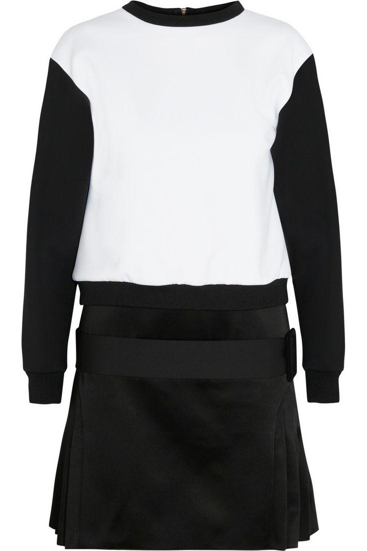 VICTORIA, VICTORIA BECKHAM  Neoprene-effect jersey and satin mini dress