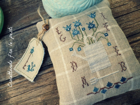 watering pincuschion and tag by primitiveacorns on Etsy, €10.00