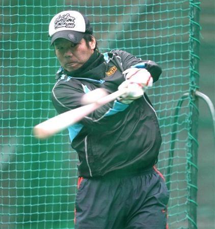 打撃練習する阪神・藤井彰人=近畿大学硬式野球部グラウンド