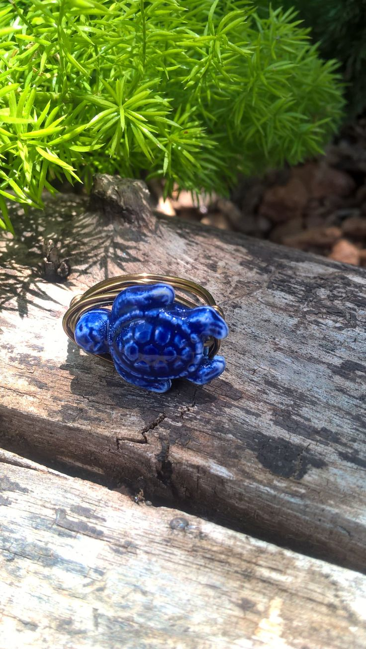 Blue Turtle Ring, Gypsy Wire Ring, Bohemian Ring, Hippie Jewelry, Made in South Africa, AhyokaByBernice, Rustic Bohemian Jewelry by AhyokaByBernice on Etsy