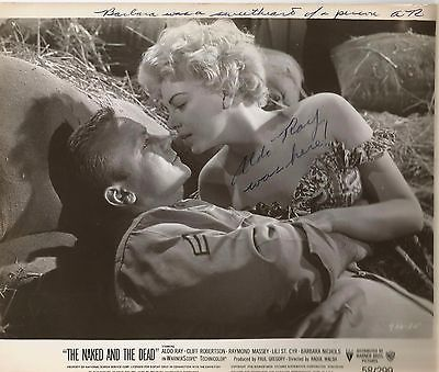 ALDO RAY-AUTOGRAPHED PHOTO WITH NOTE ON TOP (BARBARA NICHOLS SEXY BLONDE)