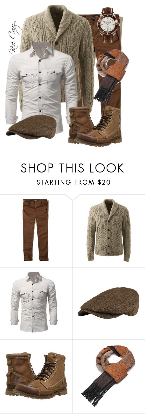 """The Rugged Gentleman"" by keri-cruz ❤ liked on Polyvore featuring Hollister Co., Lands' End, Superdry, Timberland, Breitling, men's fashion and menswear"