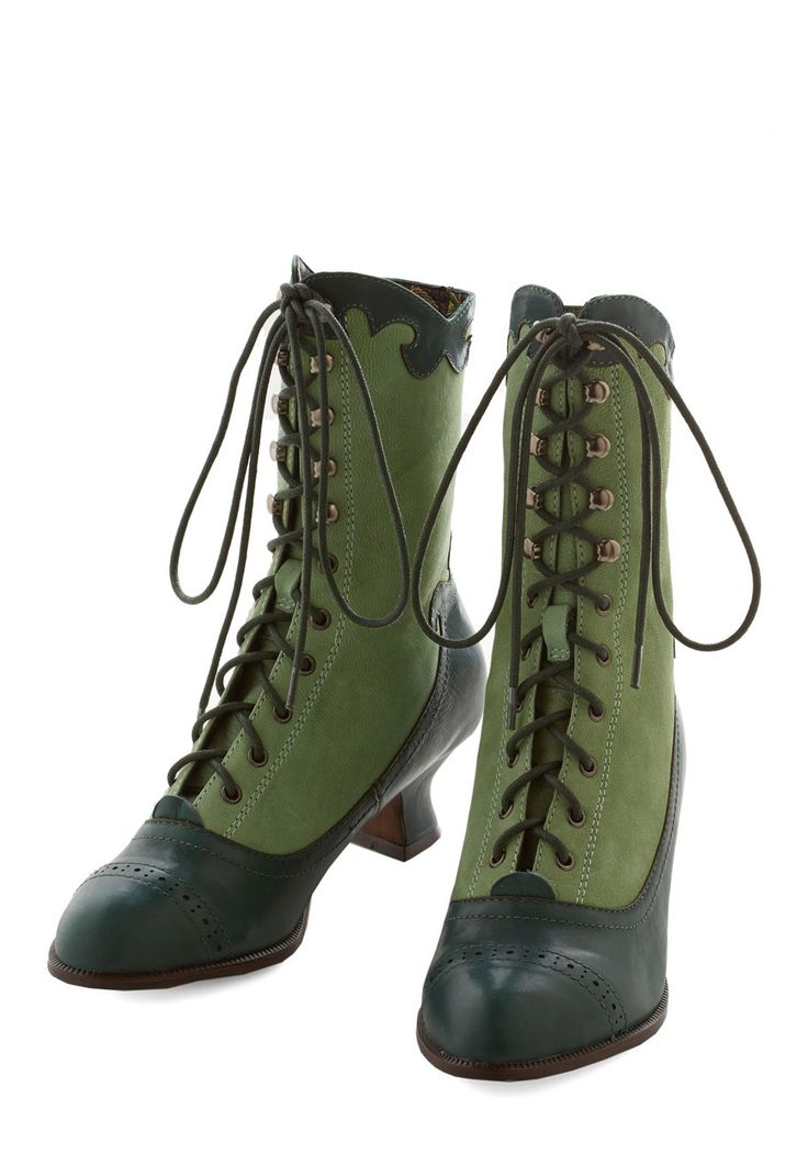 Victorian Vixen Boot. Before you skedaddle off for a retro dirigible ride, don these neo-Victorian-inspired boots by Miss L Fire to complete your grand ensemble. #green #modcloth