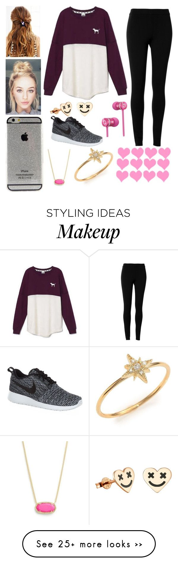 """Lazy Day Friday at School"" by evieleet on Polyvore featuring Max Studio, Victoria's Secret, NIKE, Beats by Dr. Dre, Kendra Scott and mizuki"