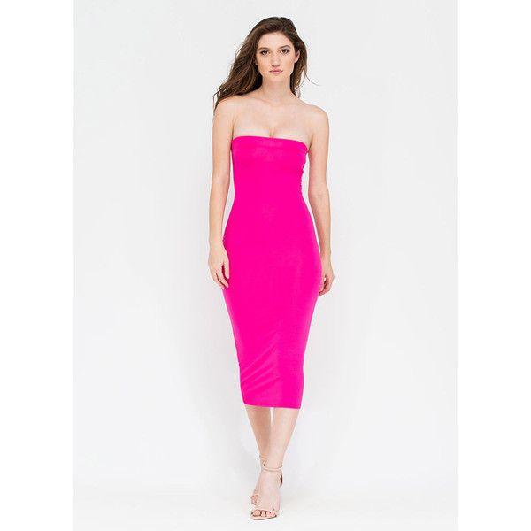 Keep It Simple Tube Midi Dress FUCHSIA ($16) ❤ liked on Polyvore featuring dresses, pink, midi dress, tube midi dress, fuchsia dress, fuschia pink dress and tube dress