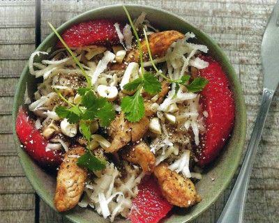 Fruitige maaltijdsalade met gepofte amarant en knolselder