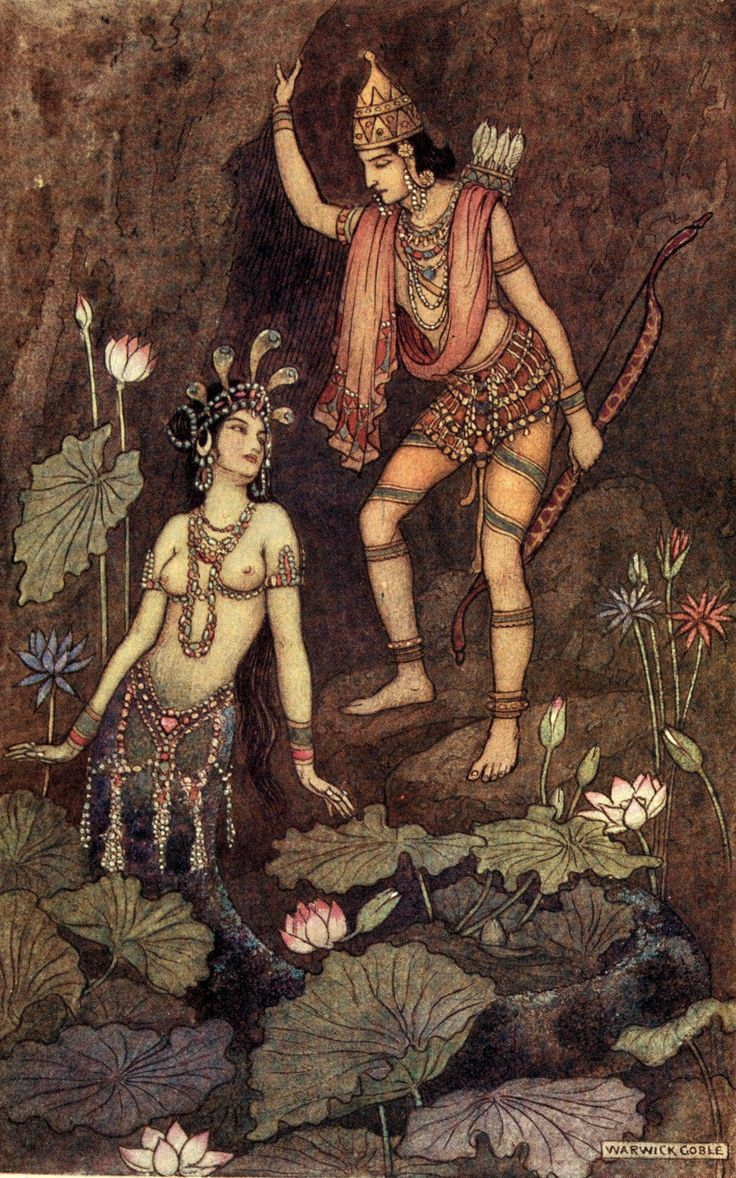 Arjuna and the River Nymph. Illustration by Warwick Goble in 'Indian Myth and Legend' by Donald A. Mackenzie (1913).