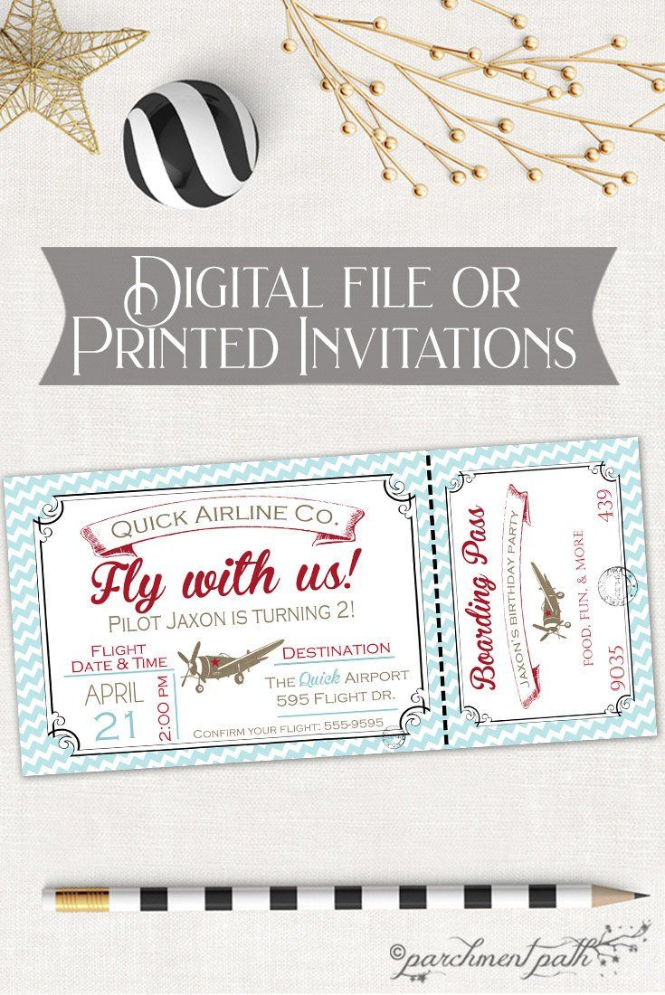 Airplane Birthday Invitation - Printable - Vintage Airplane Birthday ...