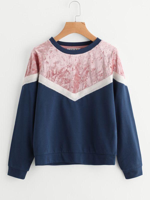 Mixed Media Cut And Sew Chevron Sweatshirt -SheIn(Sheinside)