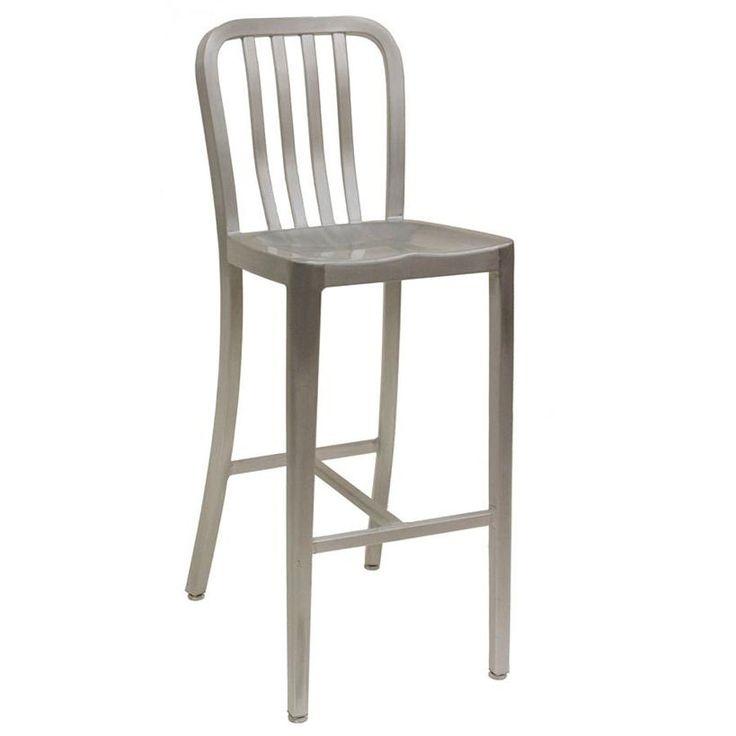 American Tables Seating BS Armless Slat Back Aluminum Bar Stool