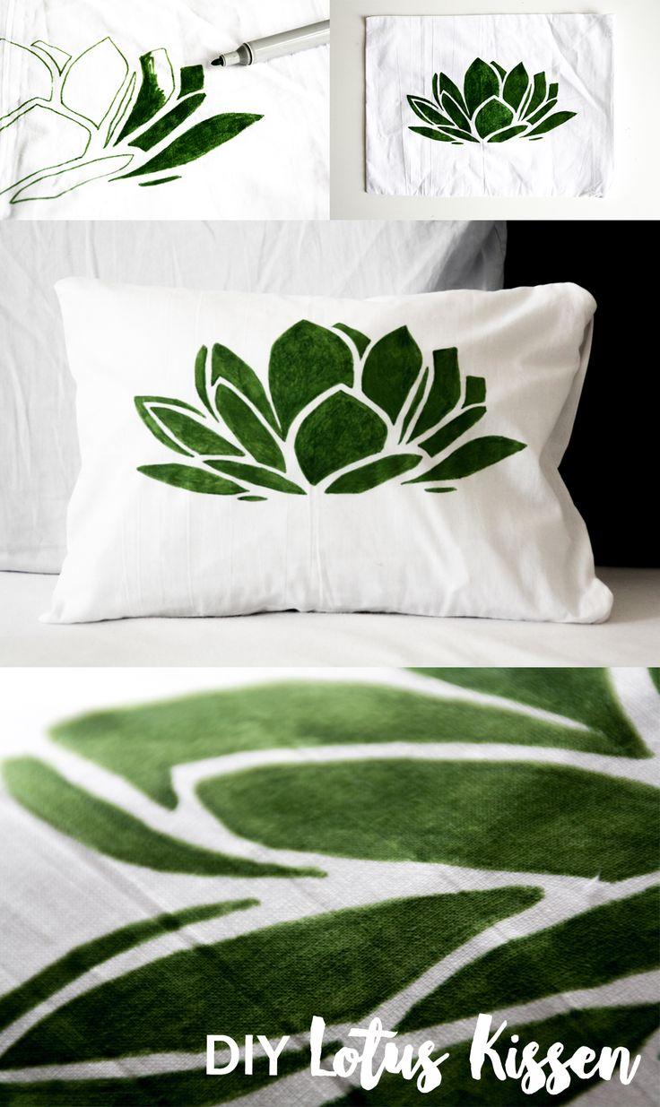 DIY Lotus Kissen basteln | Textilfarbe | Wohnen | Wohnaccessoire | grün | handmade pillow | green design | floral | plant | succulent | kissenbezug bedrucken | stofffarbe | textile painter | Idee | Tutorial | Anleitung | textile painting | living | sofa couch wohnzimmer