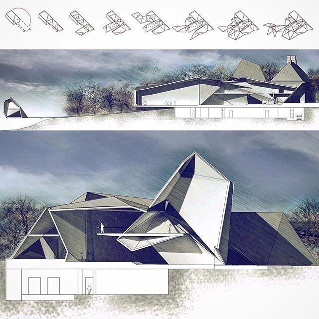 Concept diagram and schematic sections for Taittogami Gösta Serlachius Museum…