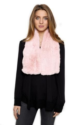 FUR 5 EIGHT BABY PINK KNITTED RABBIT FUR SCARF