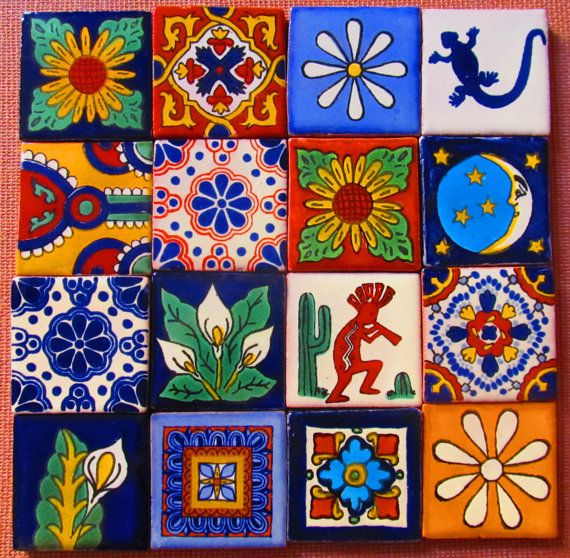 16 pcs Mexican Tile Talavera Handmade by Begamexicansupplies, $14.24