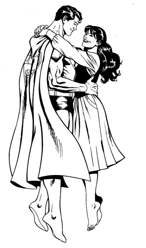 Superman Hug Lois Lane Coloring