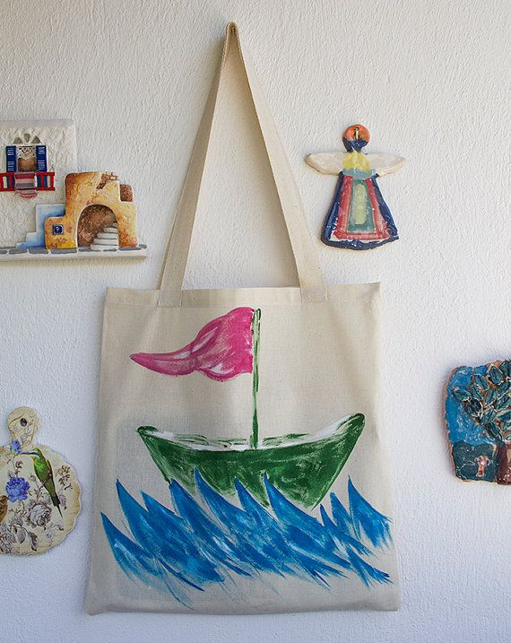 HAND PAINTED Cotton Tote Bag / Shopping bag / Cotton Bag hand paintedon bag,our design. its unique for you.  Every model paints then we list it,