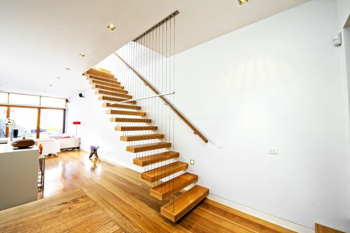 Cantilevered | Feature | Stair | Staircase | Victorian Ash | Stained | Steel | Timber | Stainless Steel Wire | Balustrade