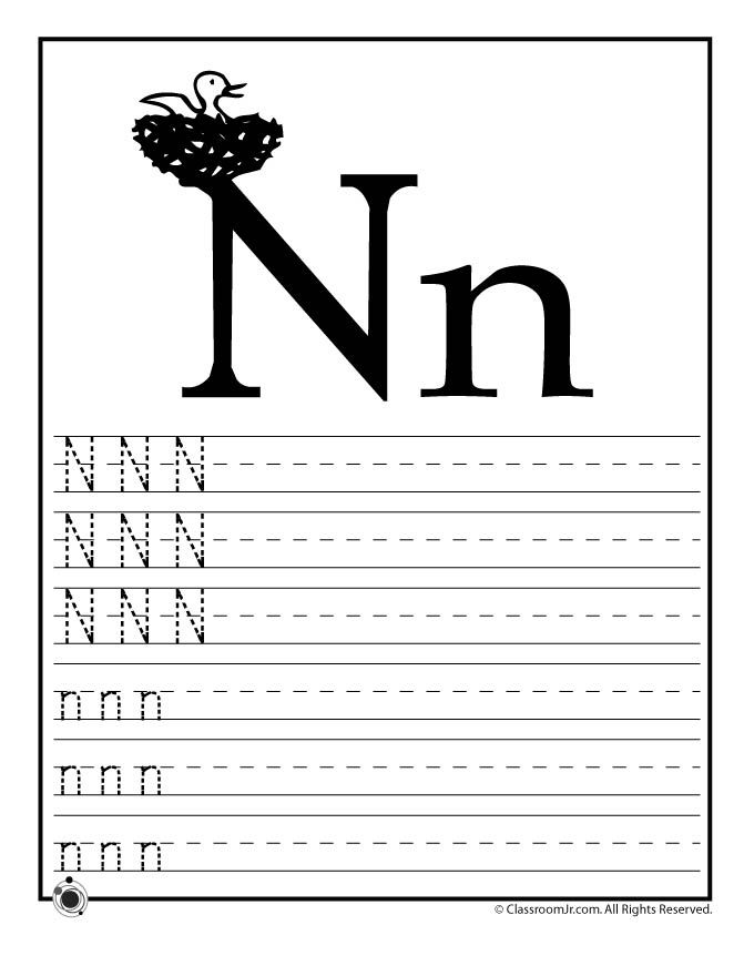learning abc s worksheets learn letter n classroom jr pre k work printables pinterest. Black Bedroom Furniture Sets. Home Design Ideas