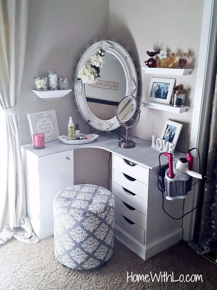 Love this corner vanity,and the hair tool set up.