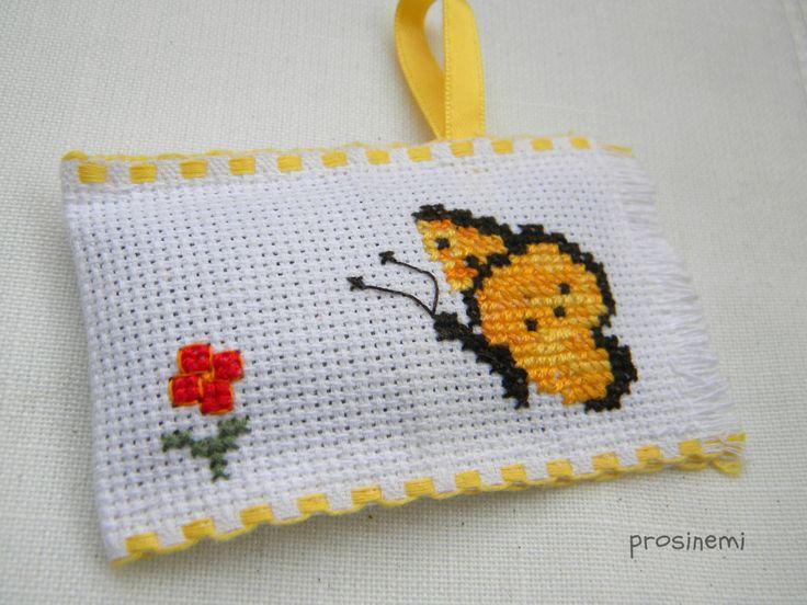 Lavender sachet, cross stitch lavender pillow, colourful happy clown, embroidery sachet by prosinemi on Etsy