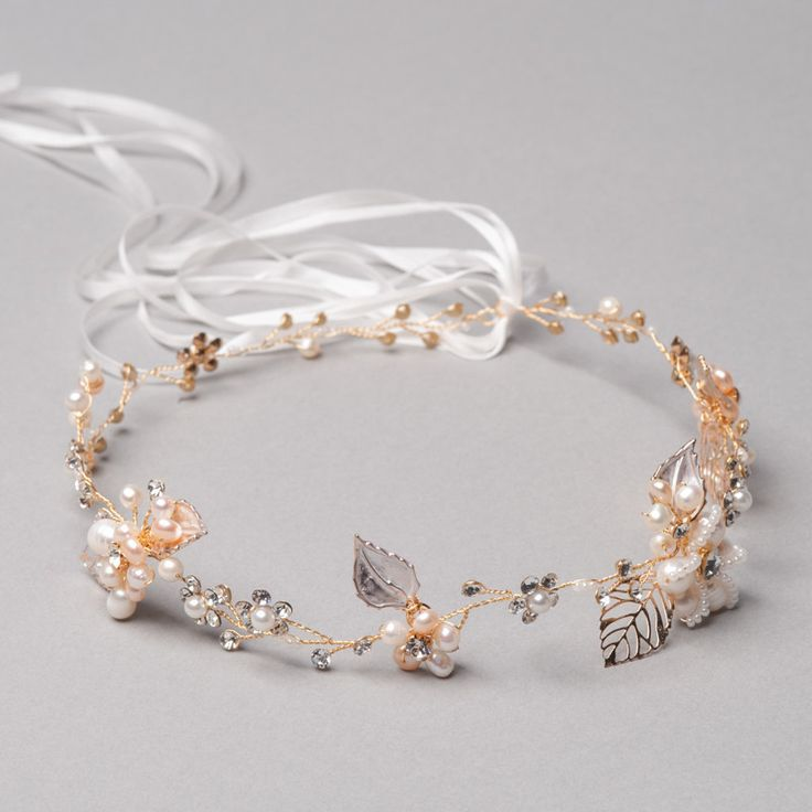 Amber Jade Halo by Shop No.2 - Freshwater pearls and Czech stones shape this delicate handcrafted Halo.