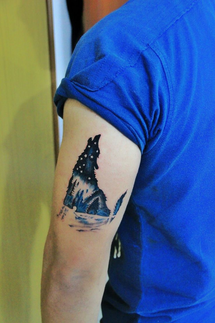 You must have seen a wolf in a forest but have you seen a forest in a wolf.. Inked this on my left back upper arm.. #tattoo #wolf #wolfinforest #menta…