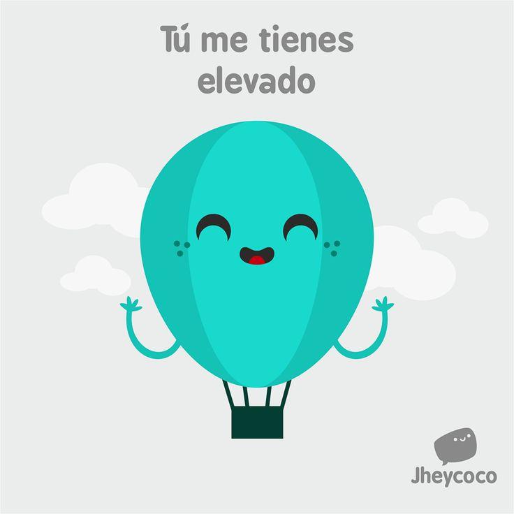 #jheycoco #humor #ilustración #cute #tierno #globo #elevado #amor