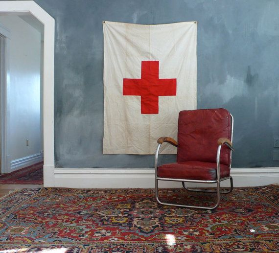 red flag with red cross