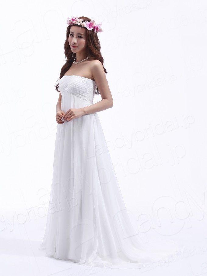 ウェディングドレス エンパイア 二次会 ハートネック シフォン 人気商品 H300PR1436 価格 ¥26,244