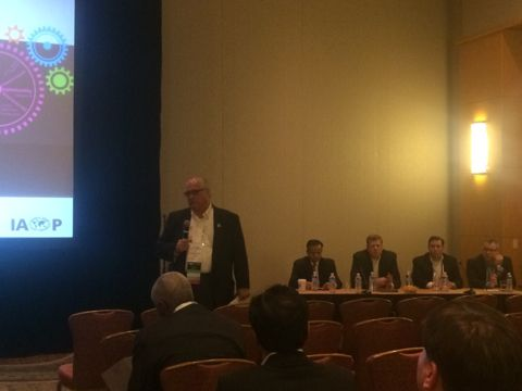 Moderator asking people for questions at panel disc on 'managing sourcing complexity within a hybrid ecosystem' at The IAOP 2015 Outsourcing World Summit