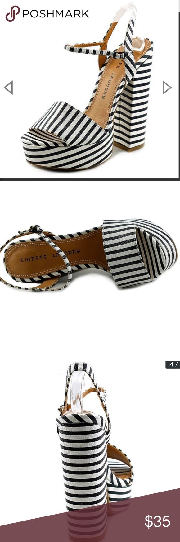 """Chinese Laundry Women's high heel 6 """" with platform black and white sandal brand new Chinese Laundry Shoes"""