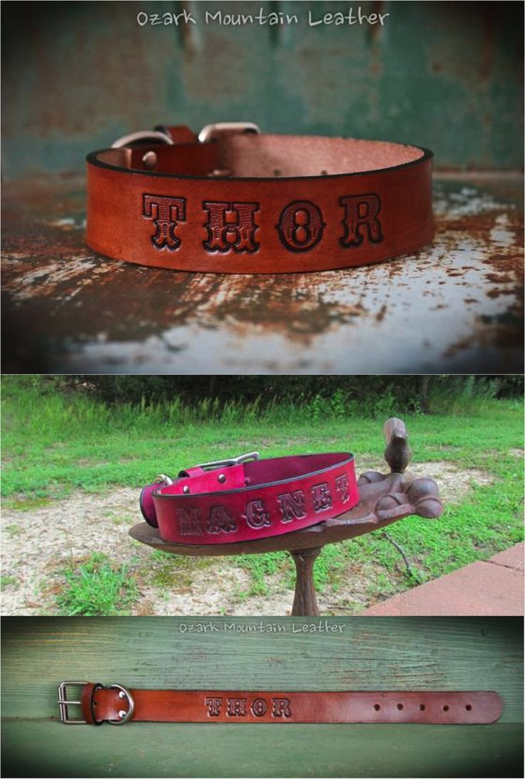 Beautiful custom engraved leather dog collar personalized with your pet's name. A great treat & reward for good behavior for your favorite furry friend! | Made on Hatch.co by independent designers & makers who care.