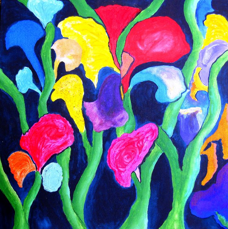 Ink and acrylics on canvas. I named it Clam Flowers IV. For more see rloliverartist.com