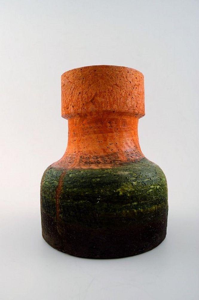 Marcello Fantoni Italy Pottery Vase Glaze In Orange And Dark